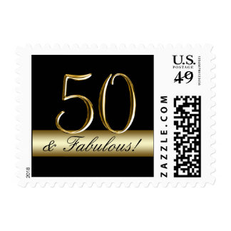 Black Metallic Gold 50th Birthday Postage Stamp