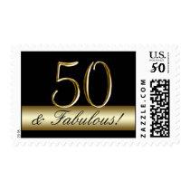 Black Metallic Gold 50th Birthday Postage