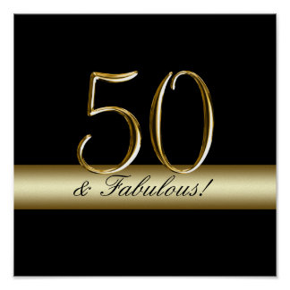 Black Metallic Gold 50th Birthday Poster
