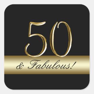 Black Metallic Gold 50th Birthday Square Sticker