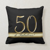 Black Metallic Gold 50th Birthday Throw Pillow