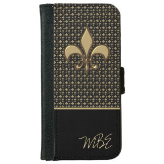 Black Metallic Gold Fleur de Lis Pattern iPhone 6 Wallet Case
