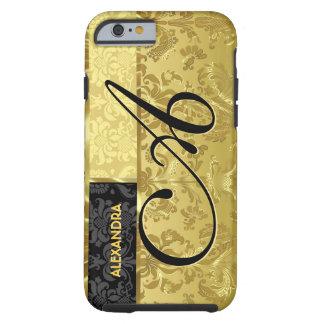 Black Metallic Gold Floral Damasks iPhone 6 Case