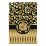 Black & Metallic Gold Floral Damasks & Stripes Cover For The iPad Mini