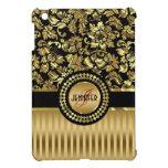 Black & Metallic Gold Floral Damasks & Stripes iPad Mini Cover
