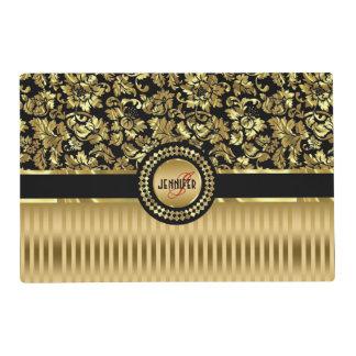 Black & Metallic Gold Floral Damasks & Stripes Placemat