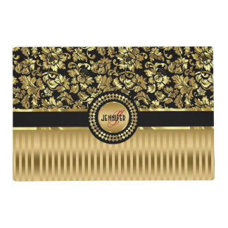 Black & Metallic Gold Floral Damasks & Stripes Placemat