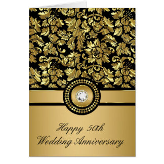 Black & Metallic Gold Vintage Damasks Card