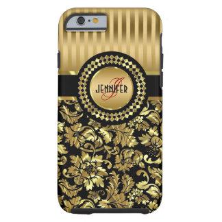Black & Metallic Gold Vintage Damasks Monogram Tough iPhone 6 Case