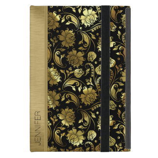 Black & Metallic Gold Vintage Floral Damasks 2 iPad Mini Cover