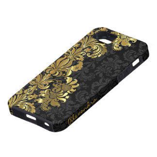 Black & Metallic Gold Vintage Floral Damasks iPhone SE/5/5s Case