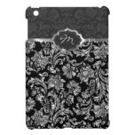 Black & Metallic Gray Floral Damasks Monogram 2 iPad Mini Case