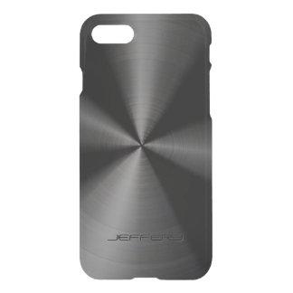 Black Metallic Pattern Stainless Steel Look 3 iPhone 8/7 Case