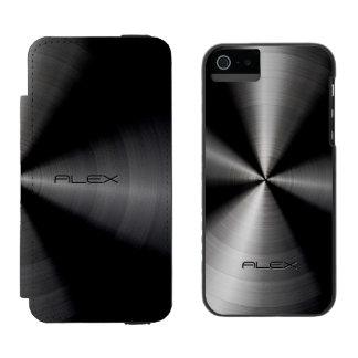 Black Metallic Pattern Stainless Steel Look iPhone SE/5/5s Wallet Case