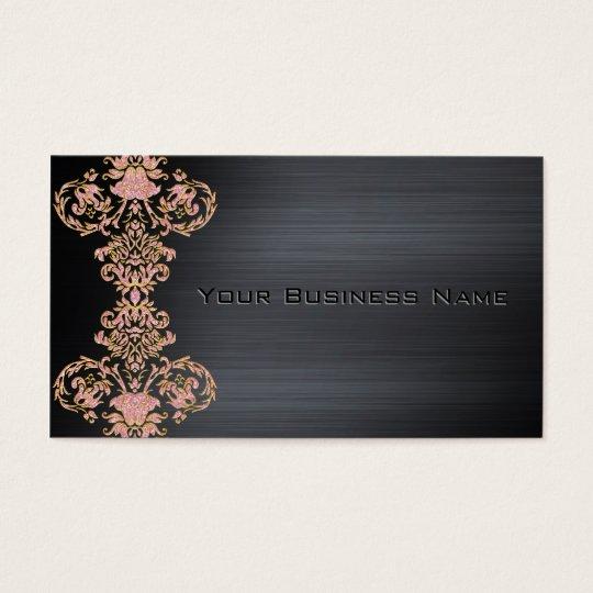Black Metallic Pink Damask Corporate Business Business Card