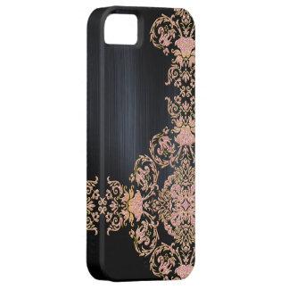 Black Metallic Pink Glitter Damask iPhone 5 Cover