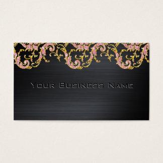 Black Metallic Pink Glitter  Damask  Corporate Business Card