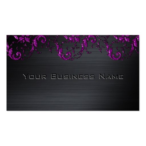 Black Metallic Purple Damask Corporate Business Double-Sided Standard Business Cards (Pack Of 100)