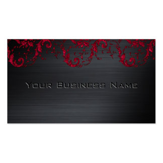 Black Metallic Red Damask Elegant Corporate Business Card Template