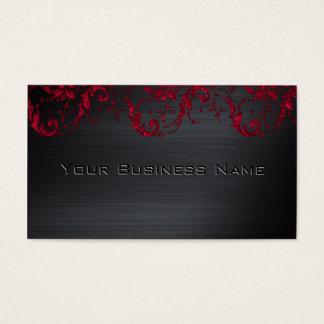 Black Metallic Red Damask Elegant Corporate Business Card
