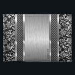 """Black &amp; Metallic Silver Brushed Steel And Damask Cloth Placemat<br><div class=""""desc"""">Metallic gray design brushed steel look and silver damasks pattern. Stripes of black geometric pattern.  Design is available on other products and can be requested on any product we offer at Zazzle. Customizable monogram. This is not a metal but image that looks metallic.</div>"""