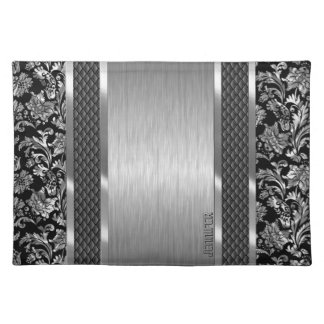 Black & Metallic Silver Brushed Steel And Damask Cloth Placemat