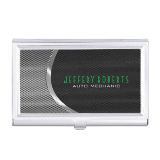 Black & Metallic Silver Gray Auto Professional Case For Business Cards
