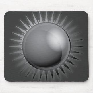 BLACK METALLIC SUN VECTOR FUTURISTIC GRAPHIC GREY MOUSE PAD