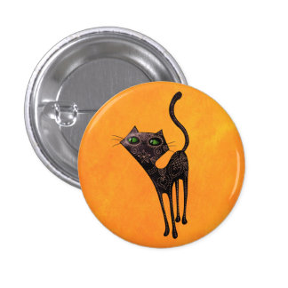 Black Mexican Day of The Dead Cat 1 Inch Round Button