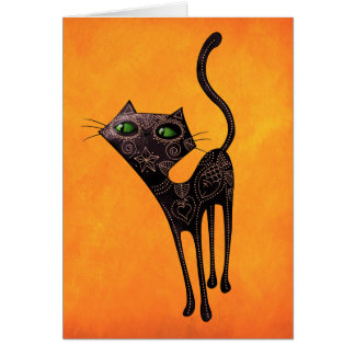 Black Mexican Day of The Dead Cat Card