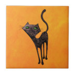 Black Mexican Day of The Dead Cat Ceramic Tile