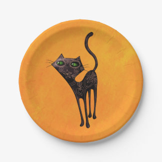 Black Mexican Day of The Dead Cat 7 Inch Paper Plate