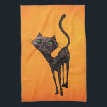 """Black Mexican Day of The Dead Cat Towel<br><div class=""""desc"""">This black cat is one of designs of our Dia de Los Muertos art collection. Whole the body is covered with traditional Mexican tattoos and designs. This cute cat is a perfect idea for gifts for cat lovers. Cute and fancy! More cute cats and Day of The Dead artwork -...</div>"""