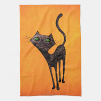 Black Mexican Day of The Dead Cat Towel