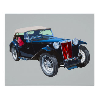 Black Mg Tc Antique Car Poster