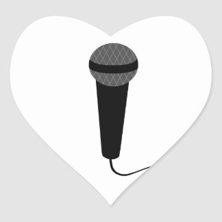 Black Microphone Heart Sticker