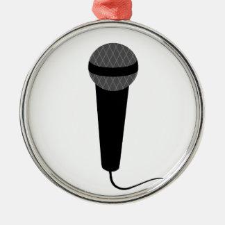 Black Microphone Metal Ornament