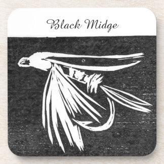 """Black Midge"" Trout Wet Fly Coaster"