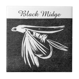 """""""Black Midge"""" wet fly tile. Tile"""