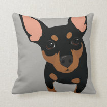 Black Min Pin Owner Throw Pillow