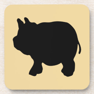 Black Mini Pig Silhouette Coaster