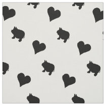 Black Mini Pigs and Hearts Silhouette Fabric