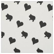 Black Mini Pigs and Hearts Silhouette Fabric