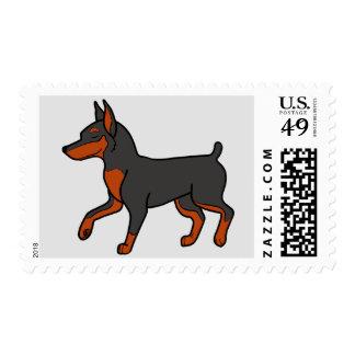 Black Miniature Pinscher Postage Stamp