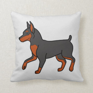 Black Miniature Pinscher Throw Pillows