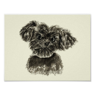 Black Miniature Schnauzer Puppy Watercolour Design Poster