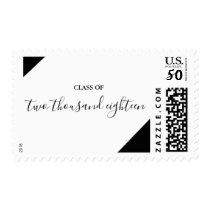 Black Minimal Calligraphy Graduation Postage