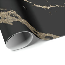 Black Minimal Deluxe Gold Marble Shiny Glam Wrapping Paper