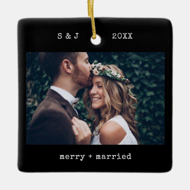 Black Minimal Typewriter   Merry and Married Photo Ceramic Ornament