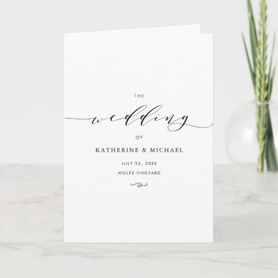 Black Minimalist Dainty Script II Wedding Program